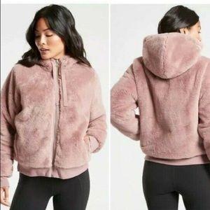 ATHLETA Ritual Jacket Mauve Pink Furry Hoodie Coat